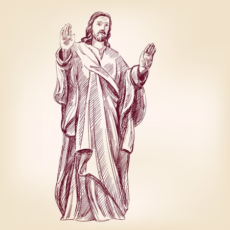 christian prayer: Jesus Christ hand drawn illustration