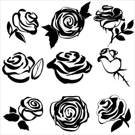rose blanche: Silhouette noire de jeu de rose symboles illustration vectorielle