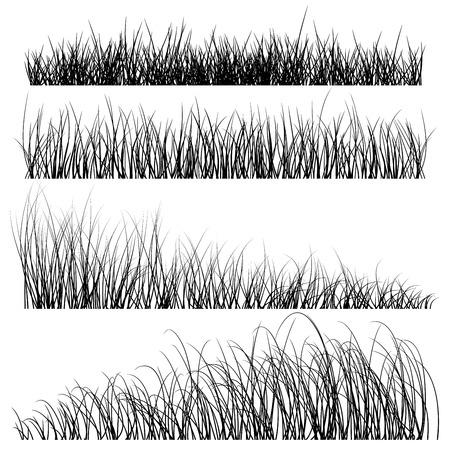 草シルエット背景のセット