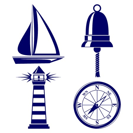 Set of marine symbols Illustration. Vector