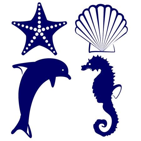 marine animals icon set illustration Illustration
