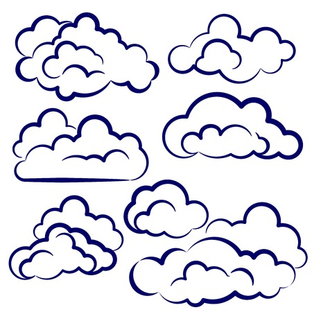 clouds collection sketch cartoon vector illustration Vector