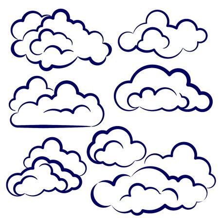 clouds collection sketch cartoon vector illustration Vector