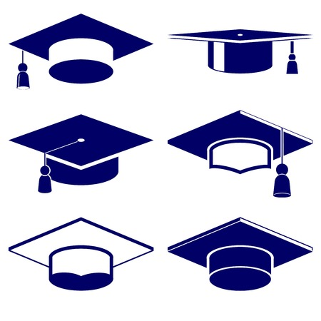 master degree: Graduation cap icon  set vector  illustration
