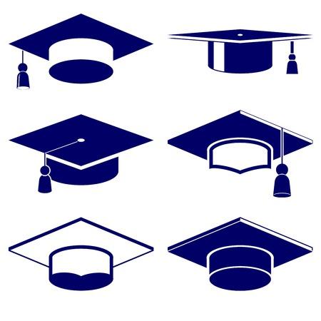 flat cap: Graduation cap icon  set vector  illustration