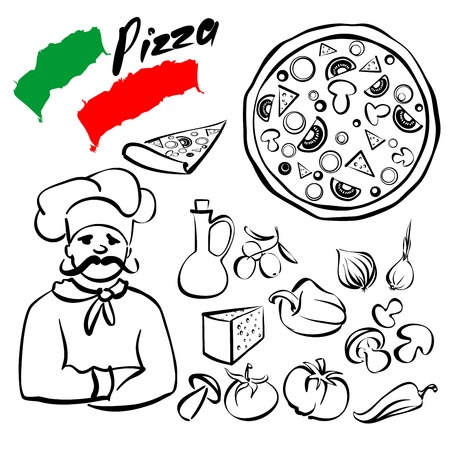 pizza collection sketch cartoon vector illustration Vector