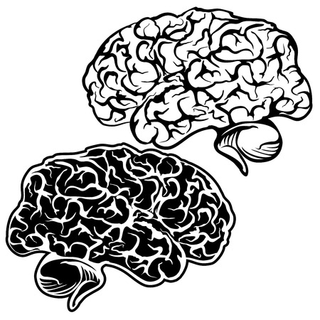 Human Brain - sketch cartoon vector illustration Vector