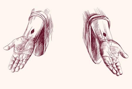 handen van Jezus Christus geïsoleerde hand getrokken vector llustration