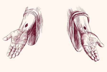 pasqua cristiana: mani di Gesù Cristo isolato disegnata a mano vettore llustration Vettoriali
