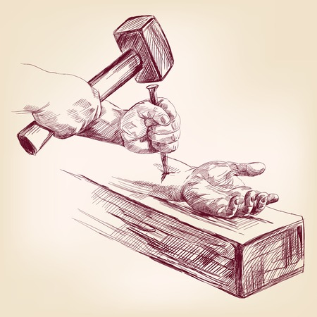 クロス ベクトル イラストレーションにイエス ・ キリストの手