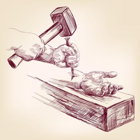 corona de espinas: mano de Jesús Cristo en la cruz vector llustration