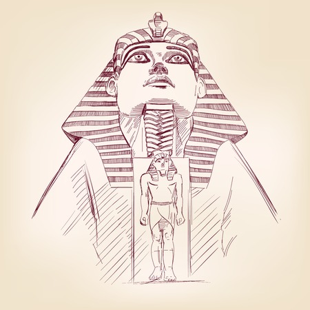 tutankhamen: Tutankhamun Egyptian Pharaoh hand drawn vector llustration