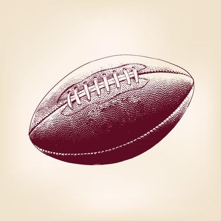 pelota rugby: esbozo realista dibujado llustration vector pelota de rugby mano Vectores