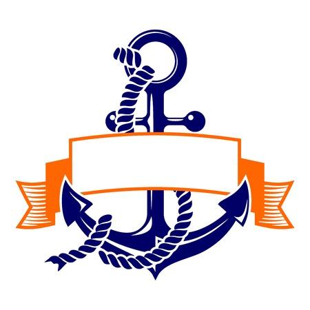 helm boat: ancla con una ilustración vectorial símbolo de la bandera