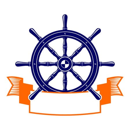 scroll wheel: steering wheel with banner symbol  vector illustration