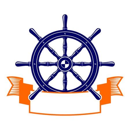 helm boat: volante con la ilustración símbolo vector de la bandera Vectores