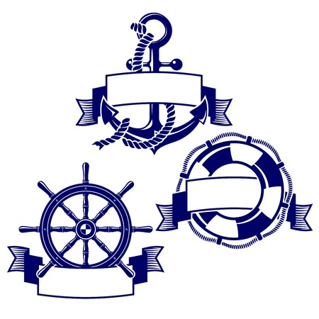 Set of banners with marine icons  Vector Illustration   イラスト・ベクター素材