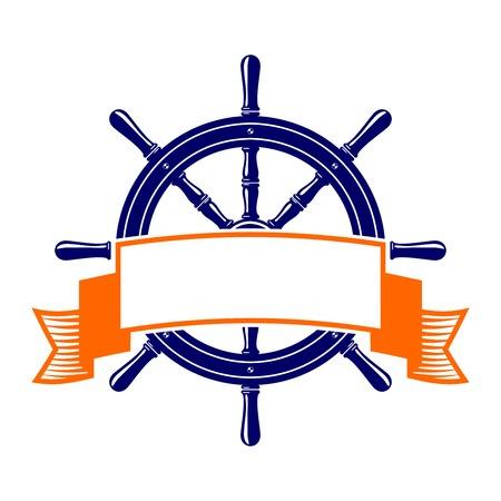 stuurwiel met banner symbool vector illustratie Stock Illustratie