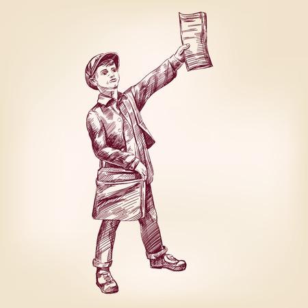 niño: Esbozo realista Paperboy vendiendo periódicos dibujado a mano vector llustration