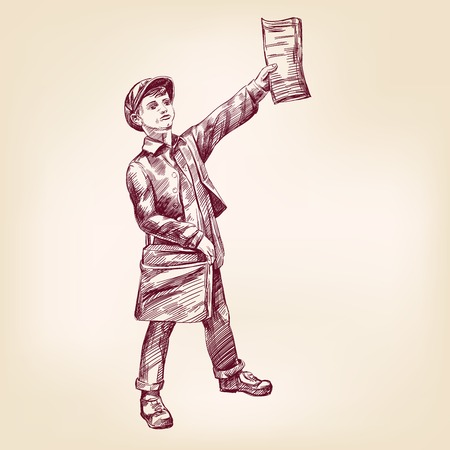 press news: Paperboy selling news papers hand drawn vector llustration realistic sketch
