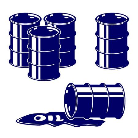 toxic barrels: Icono de petr�leo Barril conjunto Ilustraci�n s�mbolo vector Vectores