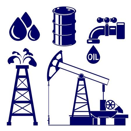 L'industrie pétrolière icon set symbole illustration vectorielle