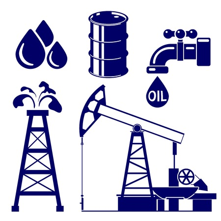 derrick: Oil industry icon  set symbol vector  illustration