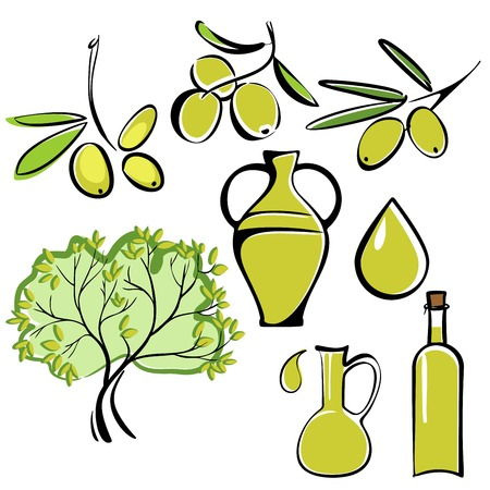 cooking oil: olive and olive oil  icon  set vector  illustration Illustration