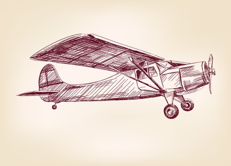 biplane: plane  hand drawn vector llustration realistic sketch