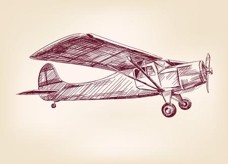 plane  hand drawn vector llustration realistic sketch Vector