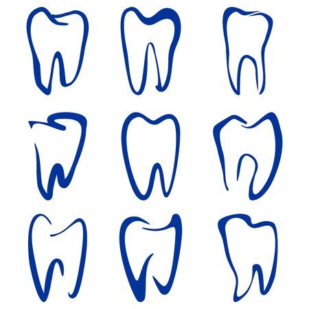 dentist smile: Abstract  teeth set sketch cartoon vector illustration