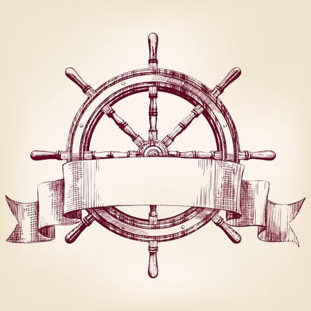 schepen: schip stuurwiel vintage tekening vector illustratie Stock Illustratie