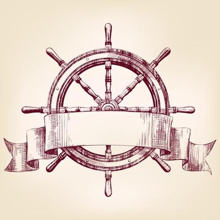 timon de barco: volante de la nave dibujo del vintage ilustraci�n vectorial