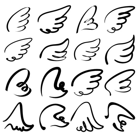 Wings icon schets collectie cartoon Stock Illustratie