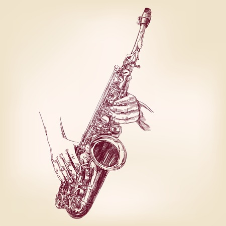 saxophone hand drawn vector llustration realistic sketch Vector
