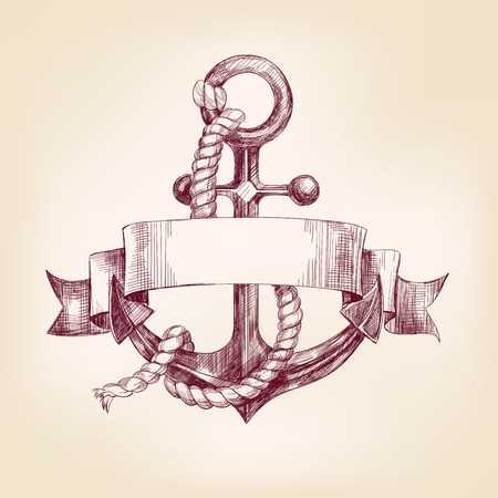 ink illustration: anchor with a banner hand drawn vector llustration realistic sketch