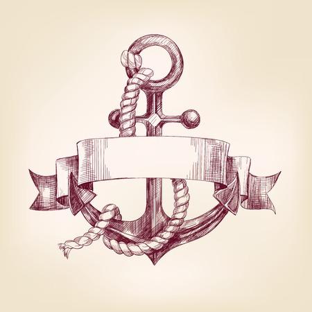 ancla: ancla con un esbozo realista dibujado llustration vector de la bandera mano Vectores