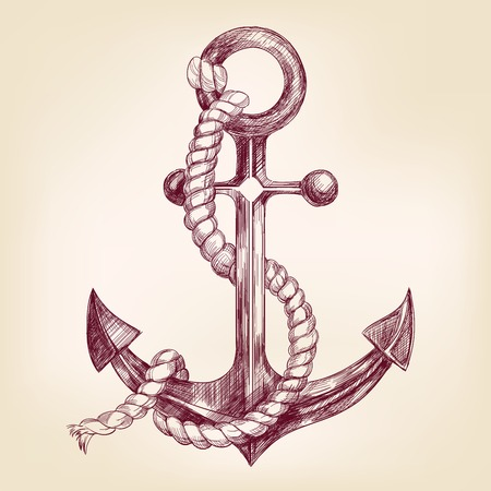anchor  hand drawn vector llustration realistic sketch