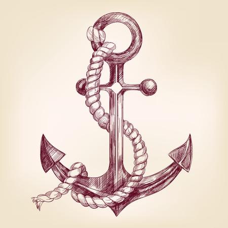 ancla: esbozo realista dibujado llustration vector de la mano de anclaje Vectores