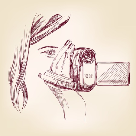 videographer hand drawn vector llustration realistic sketch