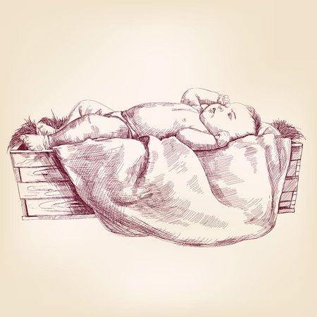 Baby Jesus in the  manger hand drawn vector llustration realistic sketch