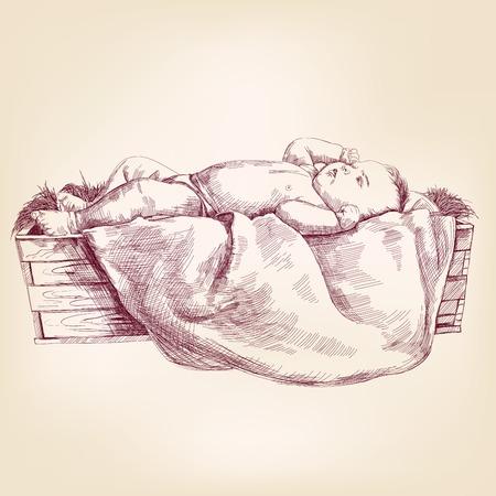 pesebre: Ni�o Jes�s en el dibujo realista dibujado llustration vectorial manger mano