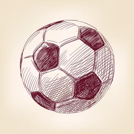 recreational pursuit: soccer ball hand drawn vector llustration realistic sketch Illustration