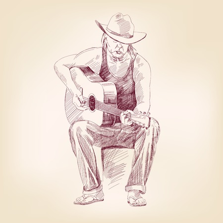 country music: guitarist hand drawn vector llustration realistic sketch