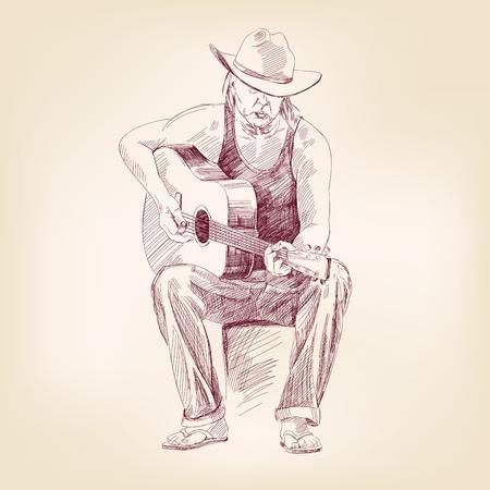 acoustical: guitarist hand drawn vector llustration realistic sketch