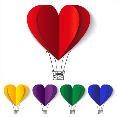 red balloon: Heart-shaped hot air balloons background vector llustration Illustration