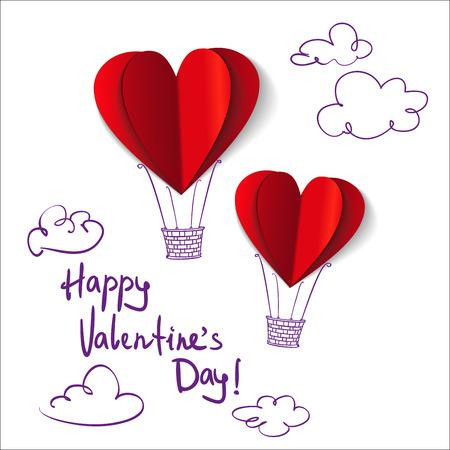 Heart-shaped hot air balloons background vector llustration Illustration