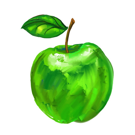green apple Vector illustration  hand drawn  painted watercolor
