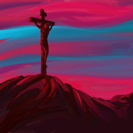 cruz de jesus: Jesucristo Crucifixión ilustración vectorial mano pintados drenados