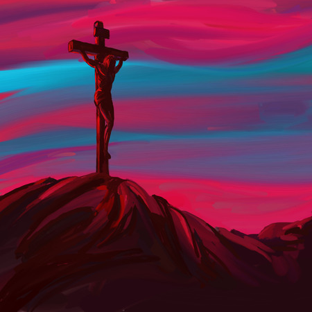 jesus in heaven: Jesus Christ Crucifiction vector illustration  hand drawn  painted